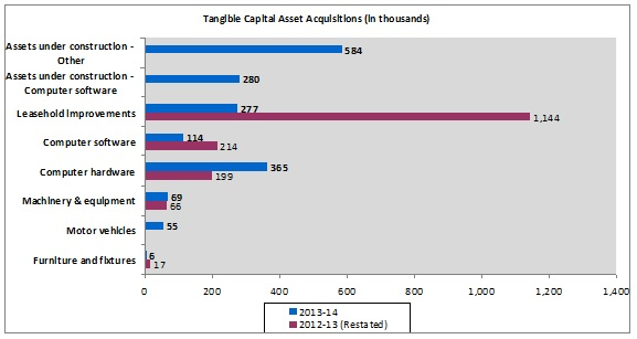 Tangible capital assets acquisitions chart